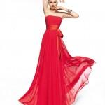 Straplez Kırmızı Abiye Elbise Modelleri