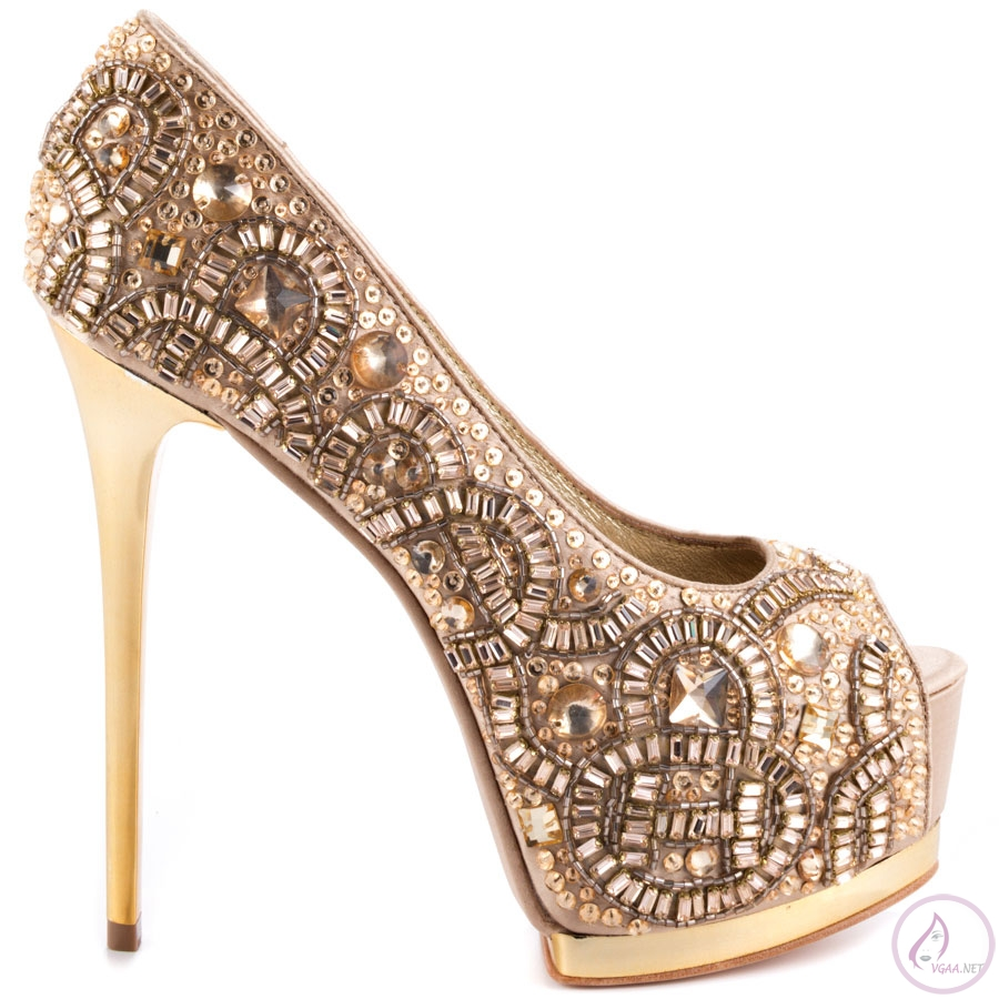 Taşlı Platform Topuk Ayakkabı
