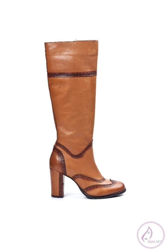 Kahverengi Platform Topuklu Uzun çizme