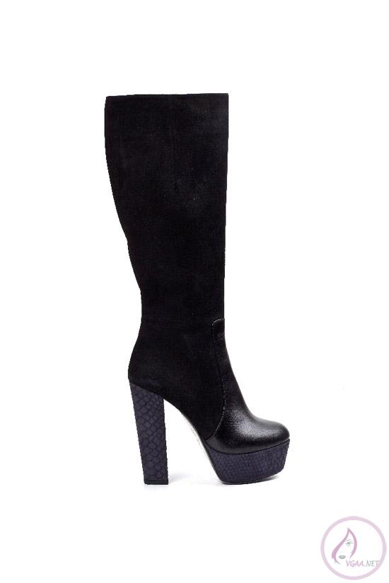 Siyah Platform Topuklu Uzun çizme