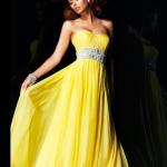 Sarı Abiye elbise modelleri 2014-15