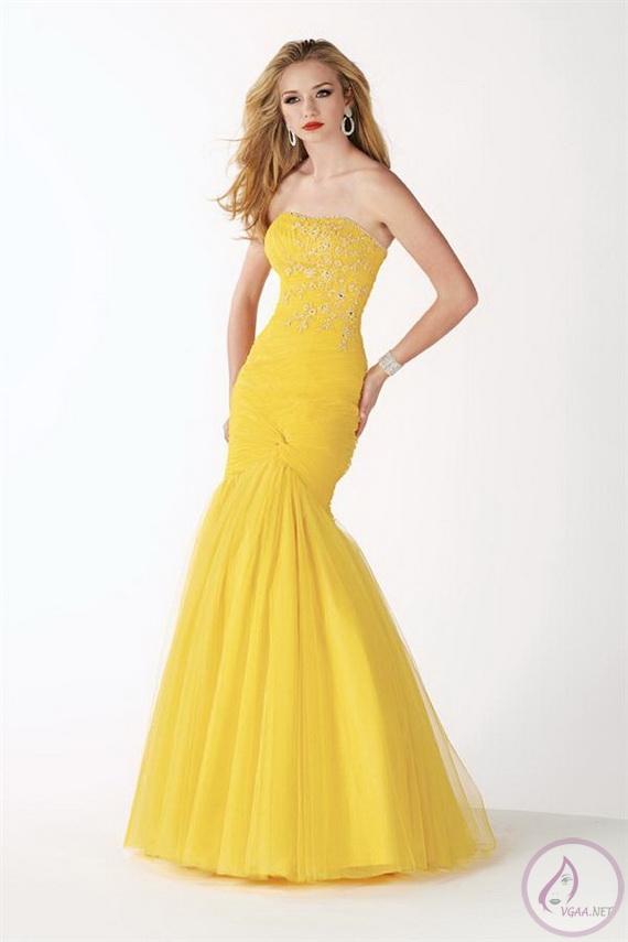 a4f64c0ad3707 Sarı Abiye elbise modelleri 2014-16 - Vgaa.Net