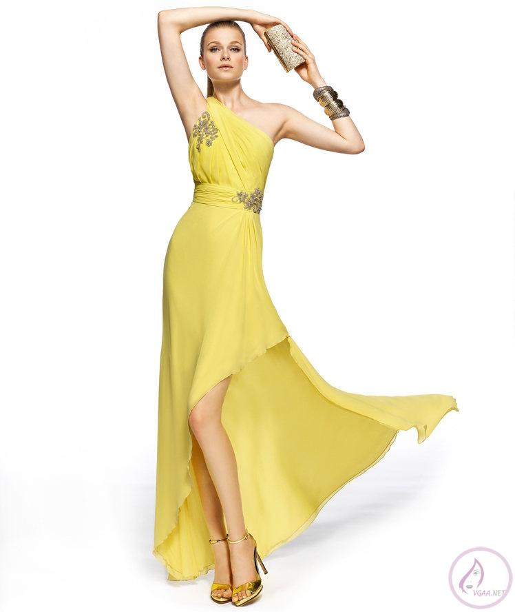 2ba10ea1ba388 Sarı Abiye elbise modelleri 2014-25 - Vgaa.Net