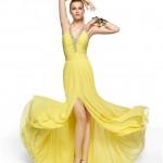 Sarı Abiye elbise modelleri 2014