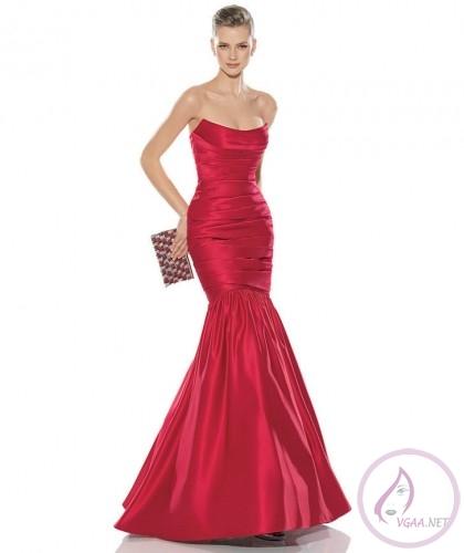 Kırmızı diz üstünden büzgülü balık abiye modelleri 420 500