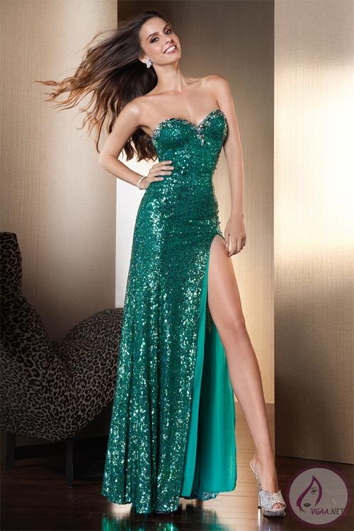 Uzun Pullu Abiye Elbise Modelleri 2014