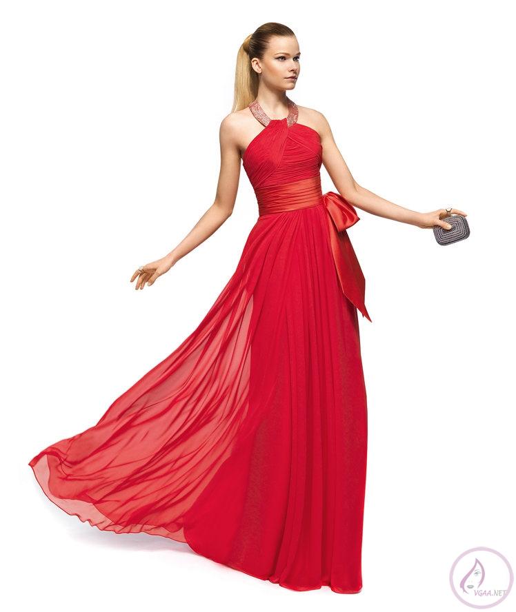 Askılı Kırmızı Abiye Elbise Modelleri