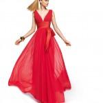 Şifon Kırmızı Abiye Elbise Modelleri