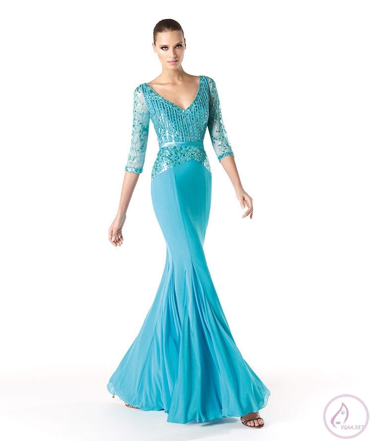 Mavi abiye elbise modelleri10