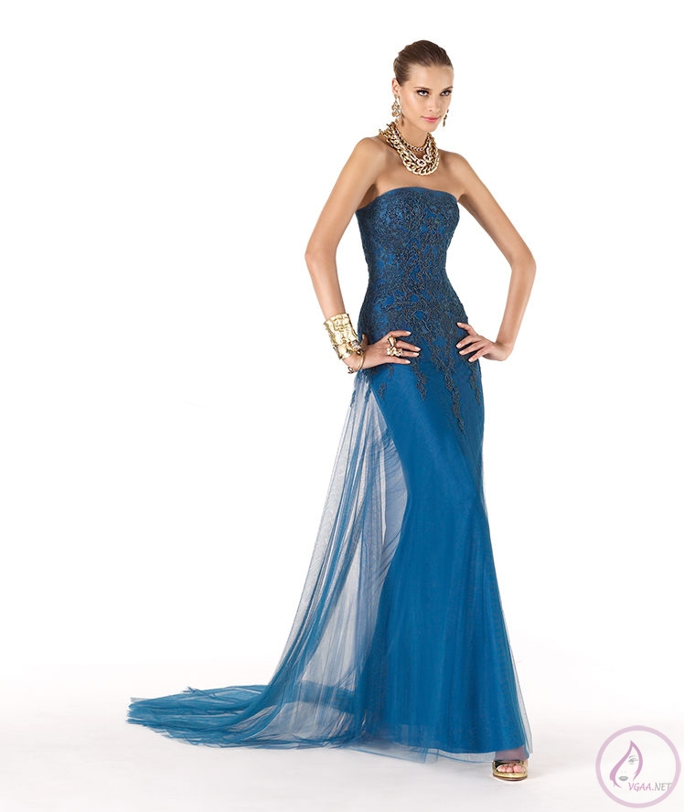 Mavi abiye elbise modelleri13