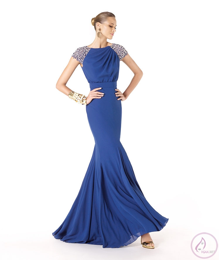 Mavi abiye elbise modelleri2