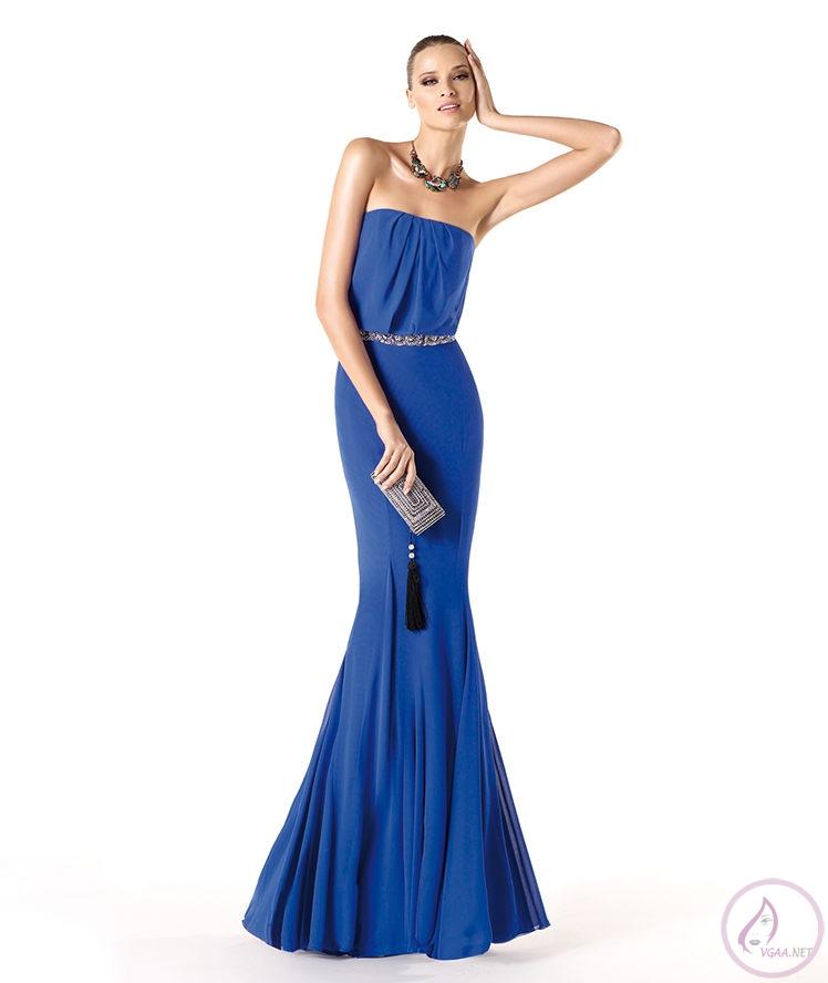 Mavi abiye elbise modelleri5
