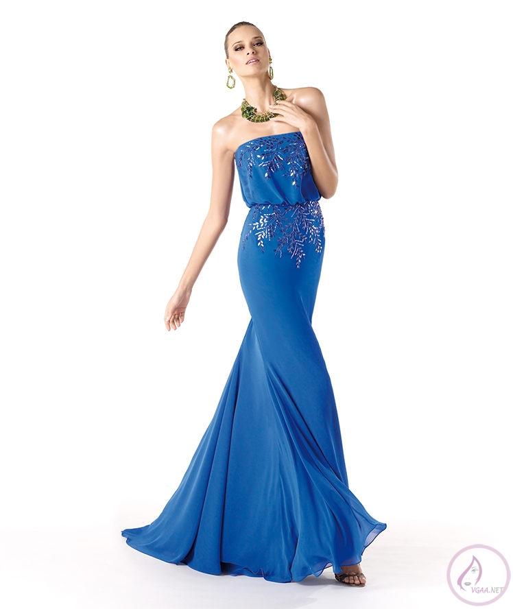 Mavi abiye elbise modelleri7