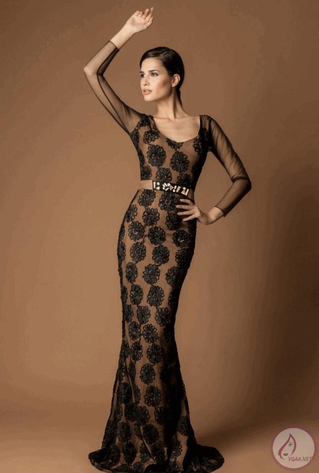 Siyah-kahverengi-Uzun-abiye-elbise-modelleri-2014