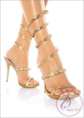 Yaldızlı-Altın-Sarısı-Abiye-Ayakkabı