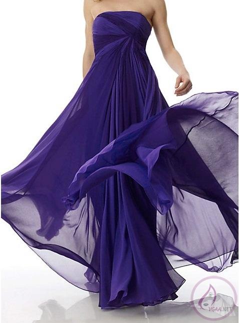 şifon abiye elbise modeli